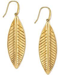 Tru. - Gold-tone Leaf Drop Earrings - Lyst