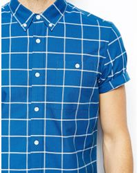 Asos Oxford Shirt in Short Sleeve with Grid Check - Lyst