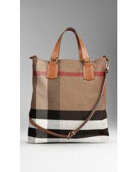 Burberry Medium Canvas Check Tote Bag - Lyst