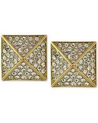 Vince Camuto - Gold-tone Glass Pave Pyramid Stud Earrings - Lyst