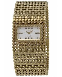 Rochas - Womens White Mother Of Pearl Dial Gold Tone Stainless Steel Watch - Lyst
