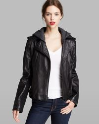 DKNY Jacket Knit Hood Leather Moto - Lyst