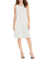 Ralph Lauren Lauren Dress - Polka Dot Crepe black - Lyst