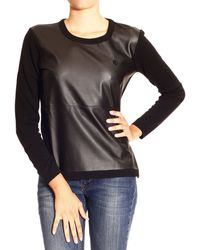 Armani Jeans Sweater Round Neck Ecoleather with Zip - Lyst