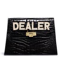 Mawi 'Dealer' Swarovski Crystal Slogan Leather Clutch black - Lyst