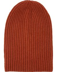 Barneys New York English Rib-Knit Beanie orange - Lyst