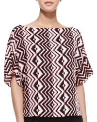 Milly Geometricprint Dolmansleeve Top - Lyst