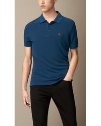 Burberry Cotton-Jersey Double-Dyed Polo Shirt teal - Lyst
