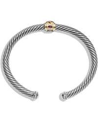 David Yurman Renaissance Bracelet With Pink Tourmaline, Rhodalite Garnet And 14K Gold silver - Lyst