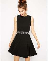 Asos Skater Dress With Embellished Waist And Crop Top - Lyst