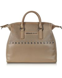 Lyst - Versace Jeans Taupe Eco Leather Large Tote W Studs in Brown ed4c510fef
