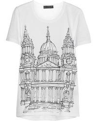 Burberry Prorsum London Printed Cottonjersey Tshirt - Lyst