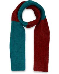 Jonathan Saunders Orange Colour Block Ribbed Woolblend Scarf - Lyst