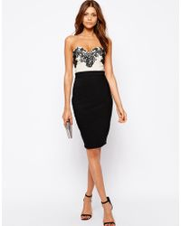 Lipsy Bandeau Pencil Dress with Lace Bust - Lyst