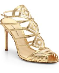 Alexandre Birman Strappy Metallic Leather Cage Sandals - Lyst
