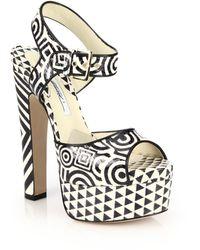 Brian Atwood | Karin Printed Elaphe Platform Sandals | Lyst
