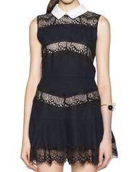 Pixie Market Peter Pan Collar Navy Lace Dress - Lyst