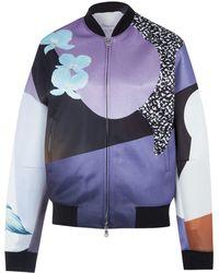 3.1 Phillip Lim Purple Graphic Floral Print Bomber Jacket - Lyst