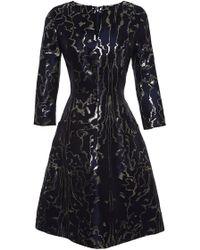 Oscar de la Renta Metallic-Jacquard Dress - Lyst