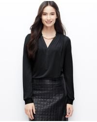 Ann Taylor Pleated Shoulder Blouse - Lyst