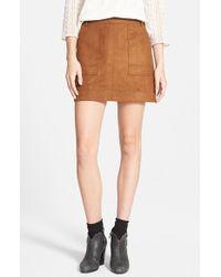 Hinge - Faux Suede A-line Miniskirt - Lyst