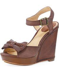 Frye Alexa Leather Bow Wedge - Lyst