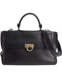Ferragamo Black Leather Top Handle Bag - Lyst