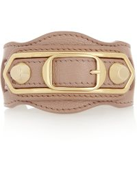 Balenciaga - Holiday Collection Textured-leather And Gold-tone Bracelet - Lyst