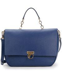 Versace Flap-Front Leather Shoulder Bag - Lyst