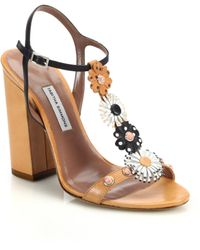 Tabitha Simmons Elvy Floral Leather T-Strap Sandals - Lyst