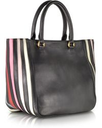 Sonia Rykiel Lucien Black and Multicolor Striped Leather Tote - Lyst