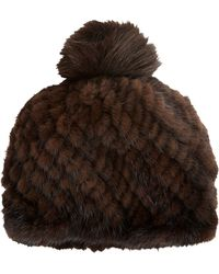 Barneys New York Pompom Fur Hat - Lyst