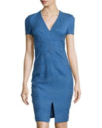 Zac Posen V-Neck Jacquard Sheath Dress - Lyst