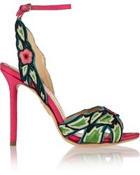 Charlotte Olympia Paradise Bead-embellished Canvas Sandals - Lyst