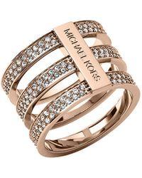 Michael Kors Triplestack Pave Ring Rose Golden 8 - Lyst