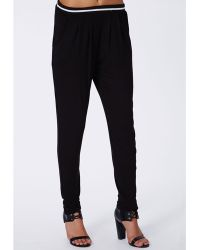 Missguided Louise Sports Rib Tapered Trousers Black - Lyst