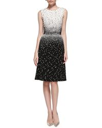Oscar de la Renta Sleeveless Dotted Dress - Lyst
