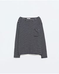 Zara Blue Striped T-shirt - Lyst