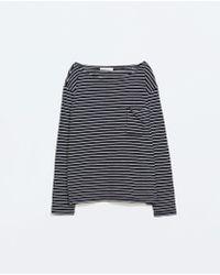 Zara Blue Striped T-shirt - Lyst