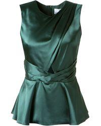 Prabal Gurung Dark Green Silk Draped Top - Lyst