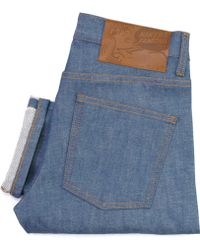 Naked & Famous - Naked And Famous Super Skinny Mid Blue Sunrise Selvedge Jeans - Lyst