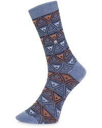 Burlington Socks | Burlington Fashion Blue Triangle Socks 20521 6662 | Lyst