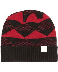 White Mountaineering - Red Triangle Jacquard Knitted Beanie - Lyst