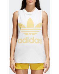 adidas Originals - Womens White & Sand Trefoil Tank Top - Lyst