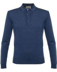 John Smedley - Tyburn Indigo Wool Polo Shirt P14 - Lyst