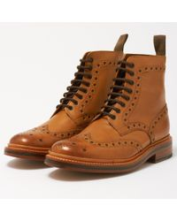 Grenson - Fred Calf Tan Brogue Boots 5068/02 - Lyst