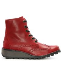 Fly London - Marl Red Leather Low Wedge Lace Up Ankle Boots - Lyst