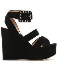 Sergio Rossi - Elettra Black Suede Wedge Sandals - Lyst