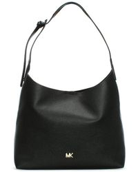 Michael Kors - Medium Junie Pebbled Black Leather Shoulder Bag - Lyst