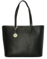 DKNY - Olive Saffiano Black Leather Large Tote Bag - Lyst